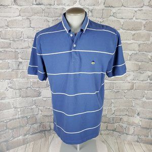 Brooks Brothers Polo Cotton Blue Striped Large